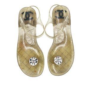 CHANEL |  CC Swarovski Logo PVC Thong Sandals